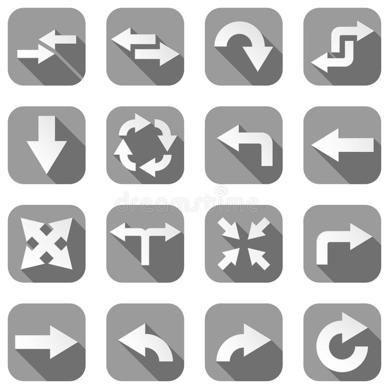 Arrow icons. Set of gray square icons with white signs royalty free illustration