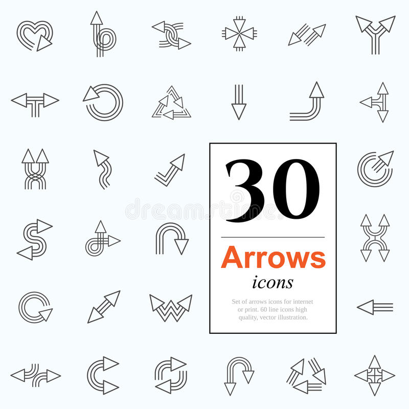 30 arrow icons. Set of arrow icons for website or internet services. 30 design line icons high quality, vector illustration royalty free illustration