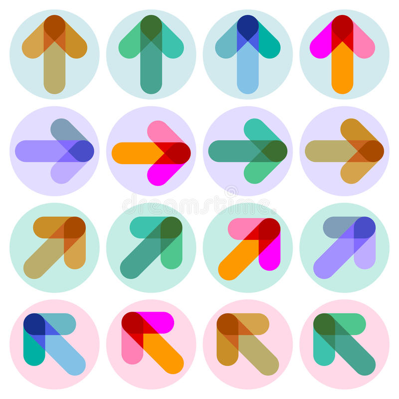 Arrow illustrations. Colorful illustrations of arrows in circles on white vector illustration