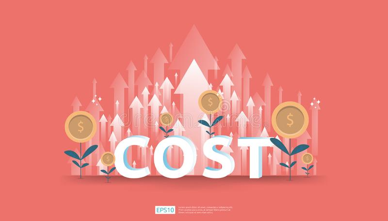 arrow increase for cost reduction concept . business management at lost crisis and bankrupt situation. finance expenses and profit royalty free illustration