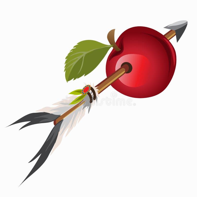 Arrow Indian got into red apple. Vector illustration vector illustration