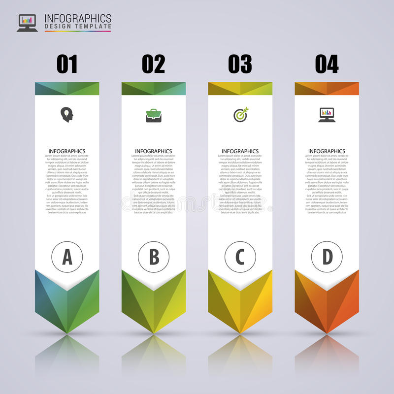 Arrow infographic template. Minimal colorful numbered banners. Can be use for diagram, graph, presentation, chart, step options, web design. Vector royalty free illustration