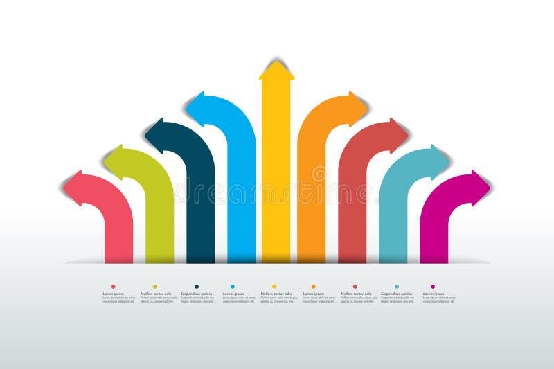 Arrow infographics scheme, flowchart, template. Multi color arrow flow chart scheme, infographics. Vector design stock illustration
