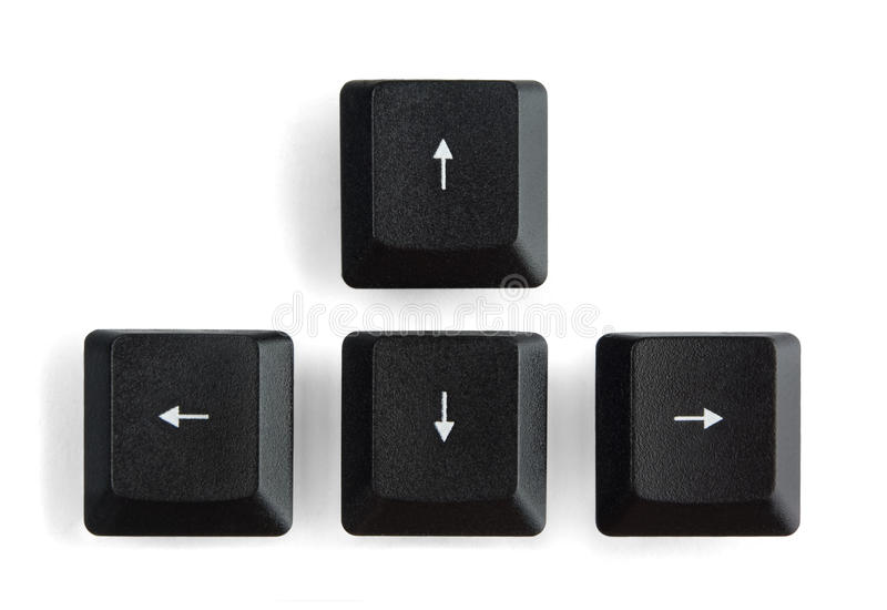 Arrow keys. Black computer arrow keys isolated on white royalty free stock photo