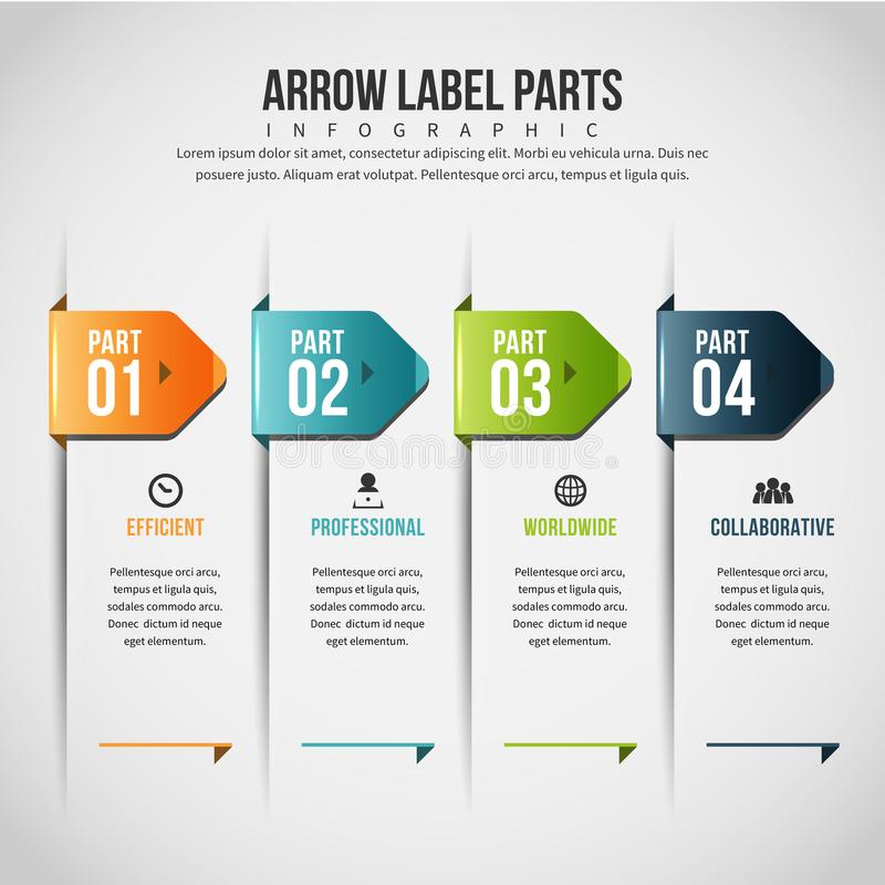 Arrow Label parts Infographic. Vector illustration of Arrow Label parts Infographic design element royalty free illustration