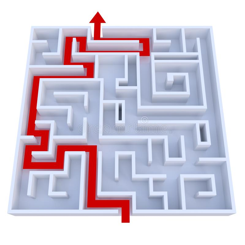 Arrow leading through maze. A red arrow is leading the way through a maze. Isolated on white background royalty free illustration