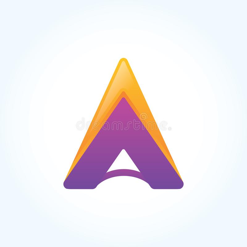 Arrow Letter A logo sign, Paper material design, Vector vector illustration