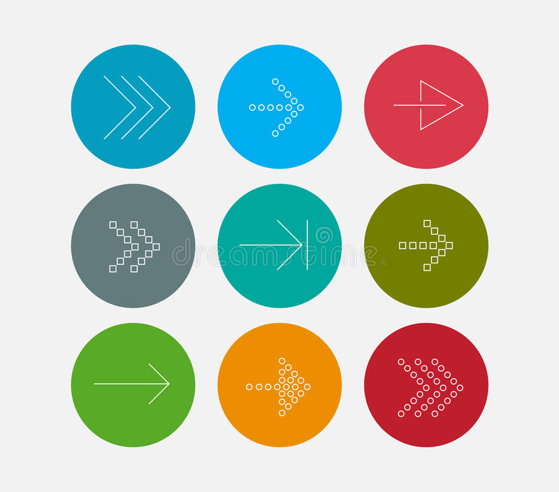Arrow line icons set royalty free illustration