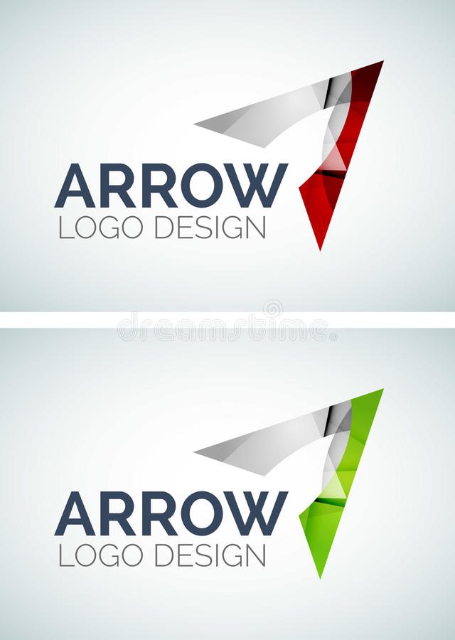 Arrow logo design made of color pieces vector illustration