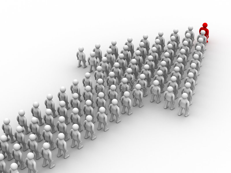 Arrow made of people. royalty free illustration