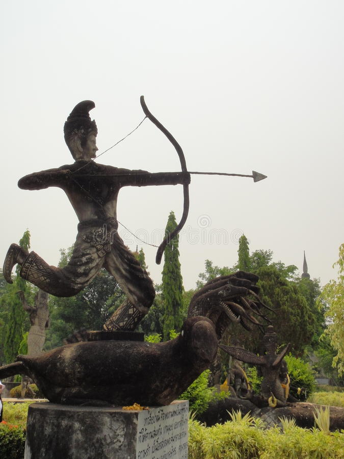 Arrow man sculpture in Nong Khai, Thailand royalty free stock photo