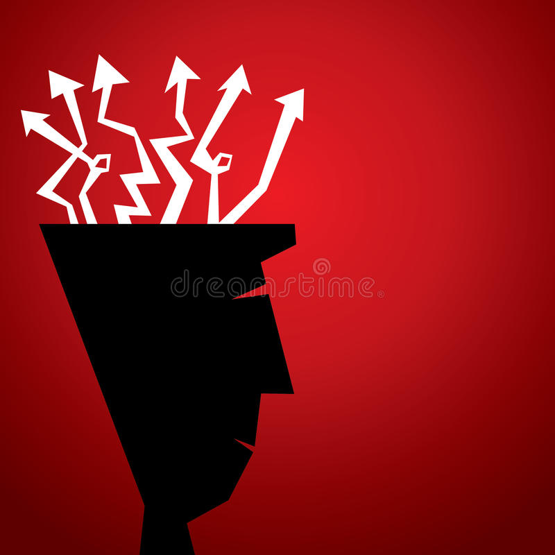 Arrow move in random direction to men head. Stock vector illustration
