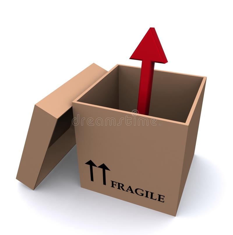 Arrow out of a box royalty free illustration