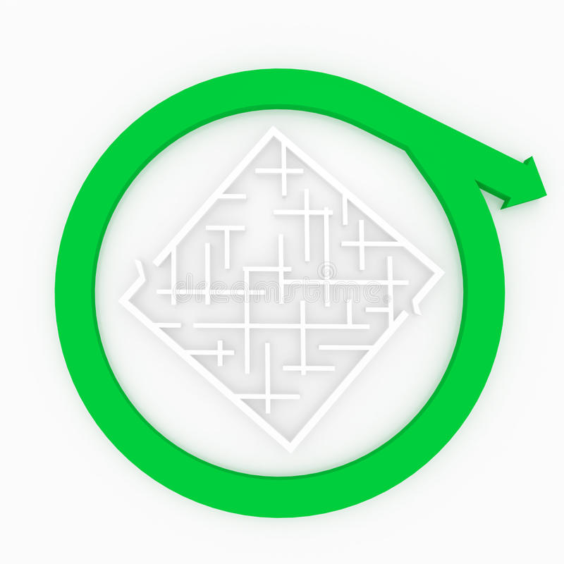 Arrow passes close to the labyrinth. vector illustration
