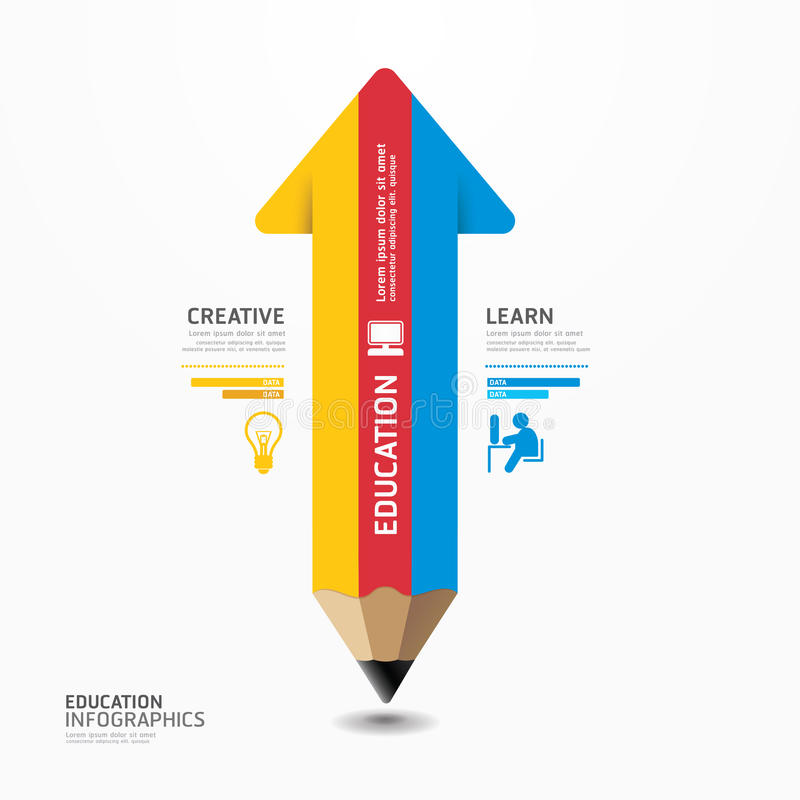Arrow Pencil Infographic Design Minimal style template. royalty free illustration