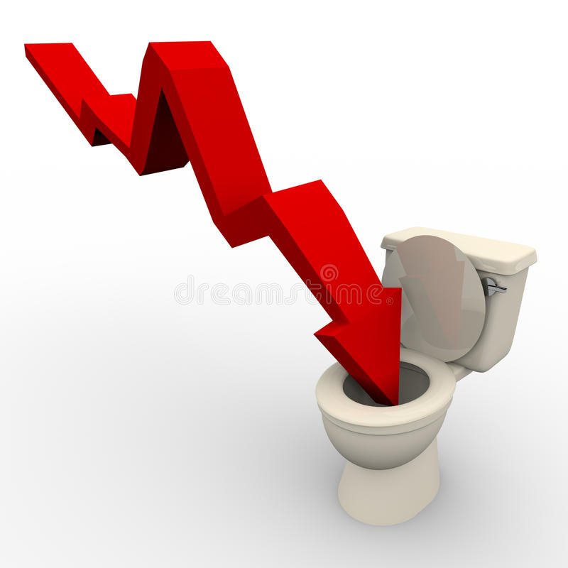 Arrow Plunging Down into the Toilet vector illustration