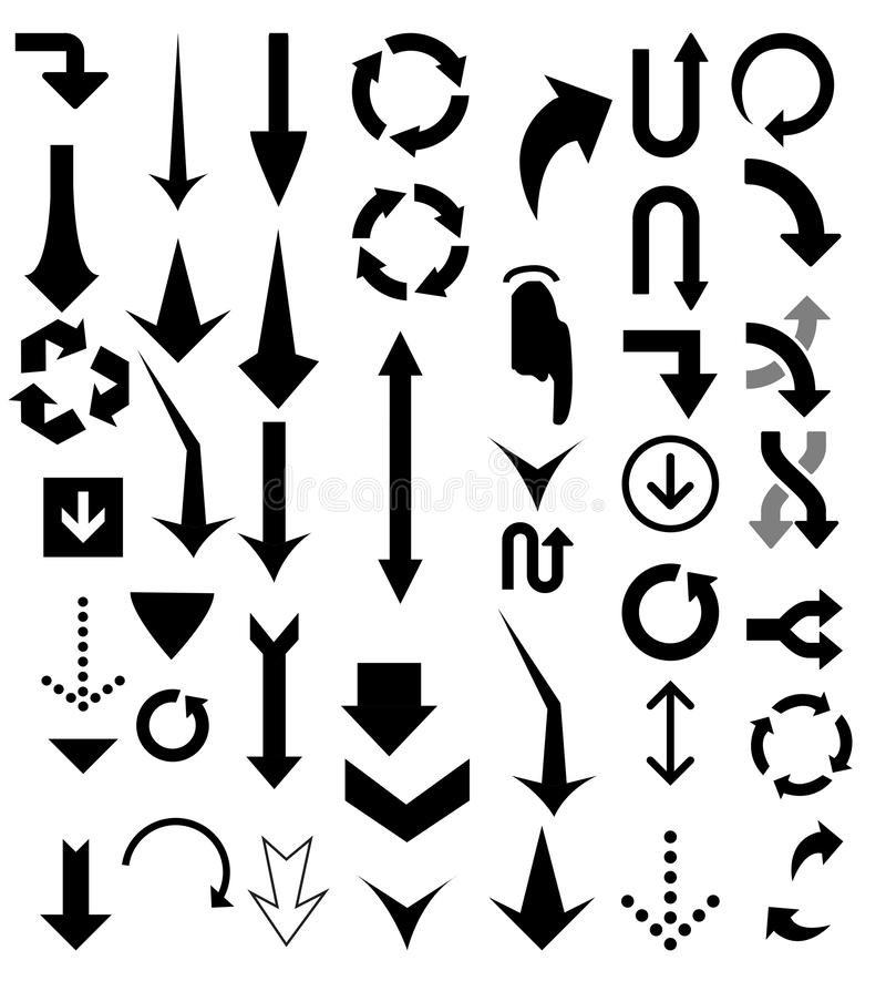 Arrow pointers vectors. Different shape of arrow vectors with eps file royalty free illustration