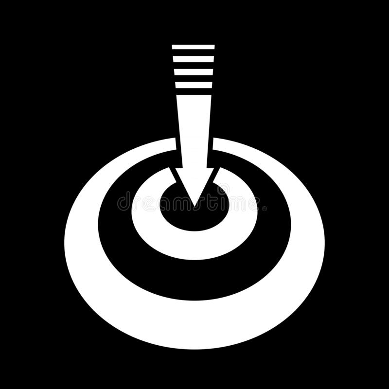 The arrow pointing down at the target for the web, icons and symbols on a black background. And goal stock illustration