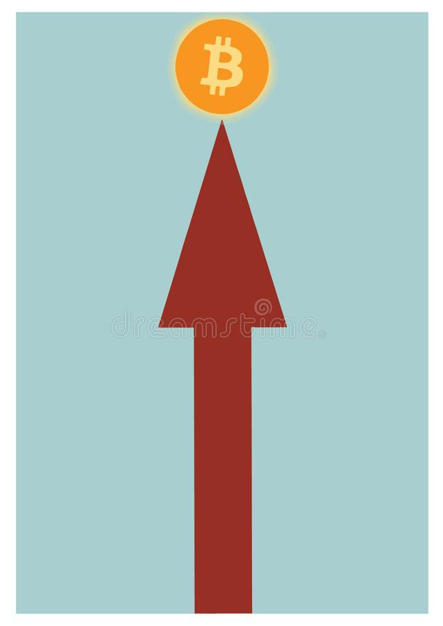 Arrow pointing straight at the bitcoin symbol. Representation of economic success in the current corporate market. stock photos