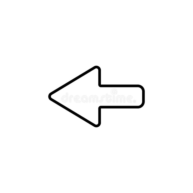 Arrow points to the left. Line icon royalty free illustration