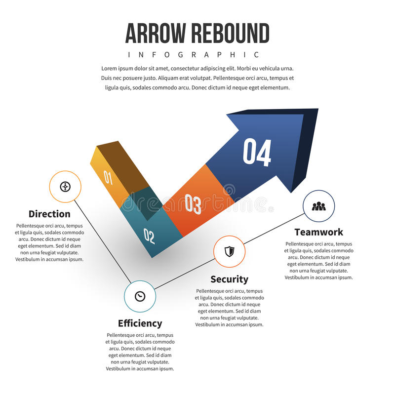 Arrow Rebound Infographic. Vector illustration of arrow rebound infographic design element stock illustration