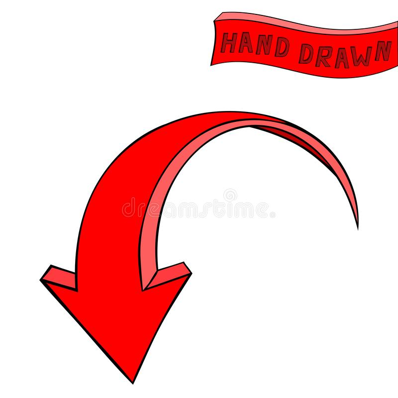 Arrow. Red Down sign. Hand drawn sketch royalty free illustration