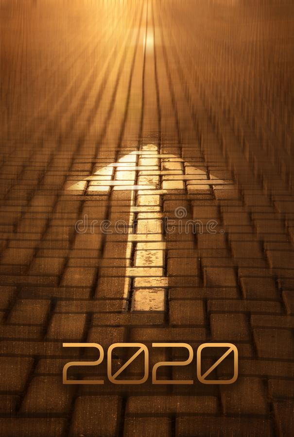 2020 Arrow on the road background. Forward New Year concept with arrow at the sunset. Motion to infinity. Conceptual image for business strategy, planning royalty free stock photo