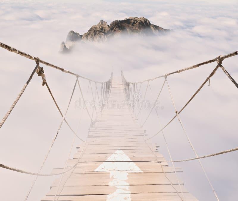 Rope Bridge With Wood Planks Stock Photo - Image of walkway, high ...