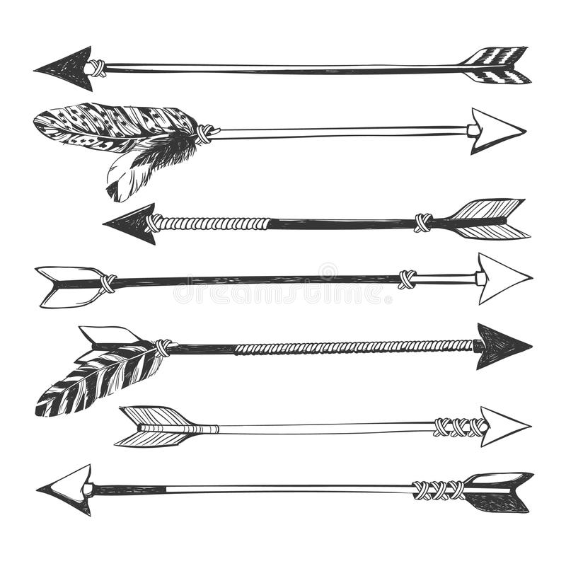 Arrow set in Native American Indian style. stock photo
