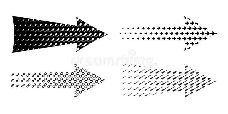 Arrow set textured. Various symbols black arrows. Arrow set textured. Various symbols arrow collection. Creative set of 4 black detailed arrows royalty free illustration