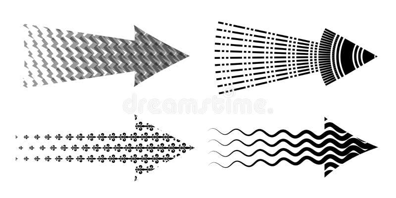 Arrow set textured. Various symbols black arrows. Arrow set textured. Various symbols arrow collection. Creative set of 4 black detailed arrows vector illustration