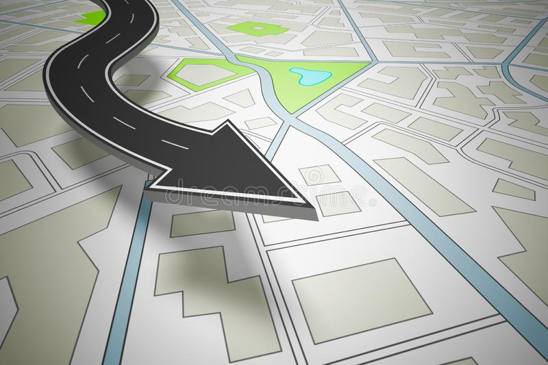 Arrow shaped road indicating the direction above a navigation map. 3D Rendering. Concept of road navigation with a city map. 3D Rendering royalty free illustration