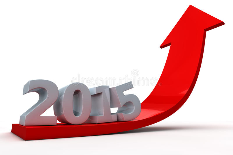 Arrow showing growth in year 2015 vector illustration