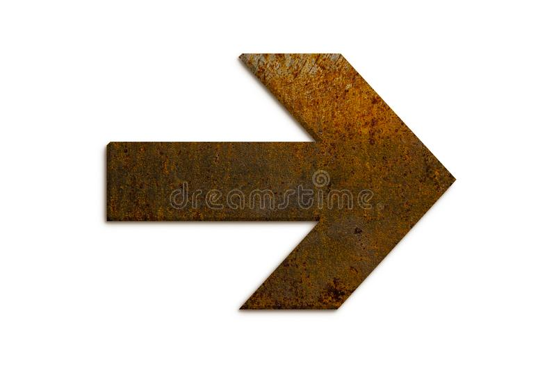 Arrow sign directional symbol made of 3D rusty metal grungy texture and isolated on seamless white background stock photography