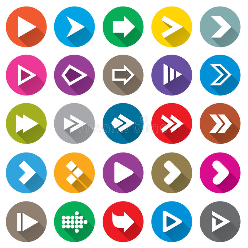 Arrow sign icon set. Simple circle shape buttons. royalty free stock images