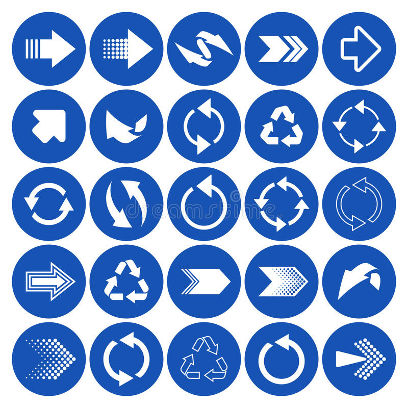 Arrow sign icons. White arrow sign icons big collection stock illustration