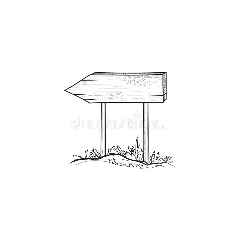 Arrow signpost. Outdoor doodle wooden road sign. Plank sketch. royalty free illustration