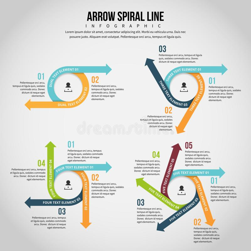 Arrow Spiral Line Infographic. Vector illustration of arrow spiral line infographic design element vector illustration