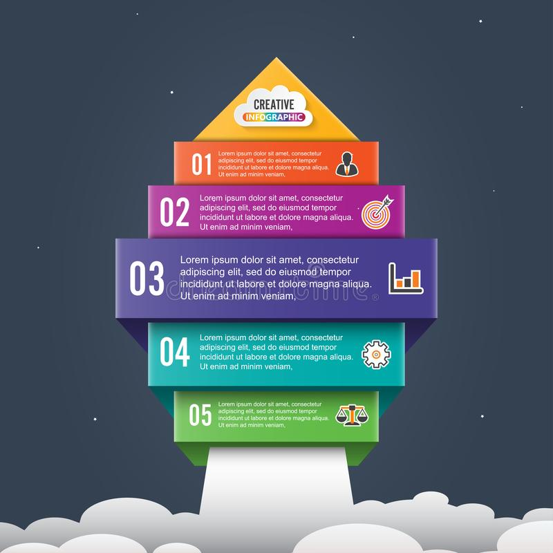 Arrow start up infographic options banner. Business success concept. Can be used for workflow layout, diagram, chart, number and royalty free illustration