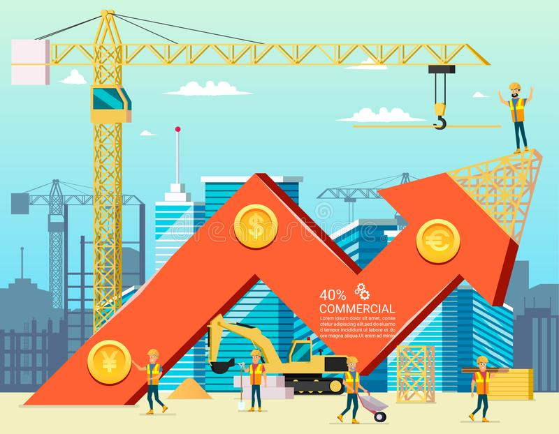 Arrow Stock Trade Graph of Housing Cost. Construction New Building in City. Vector Illsustration of Cartoon Worker Characters. Commercial Property stock illustration