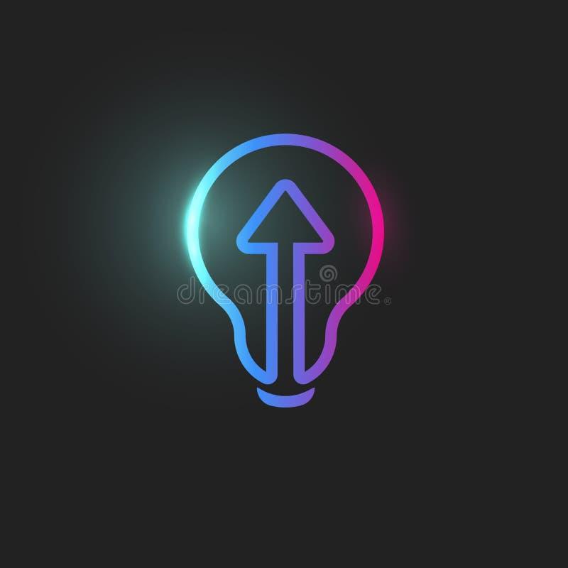 Arrow, straight ahead directioion, light bulb icon, abstract lightbulb, web icon, linear innovation, idea logo template. Education skill up vector sign stock illustration