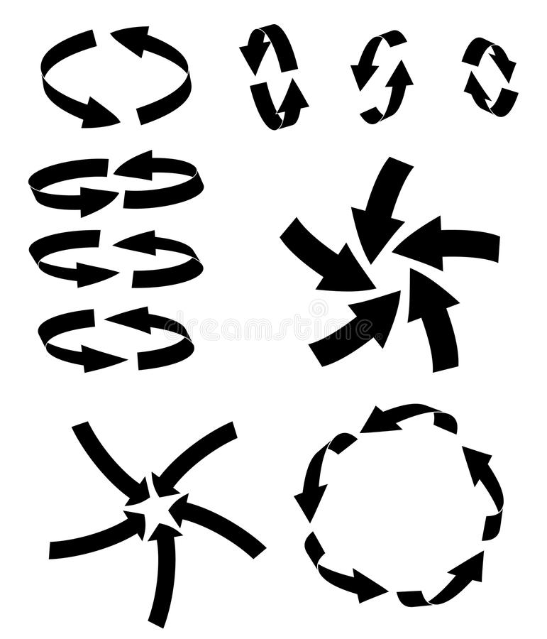 Arrow symbol cycle silhouette, curved icon business concept set . Vector illustration on white background. vector illustration