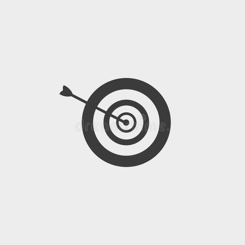 Arrow in the target icon in a flat design in black color. Vector illustration eps10 stock illustration