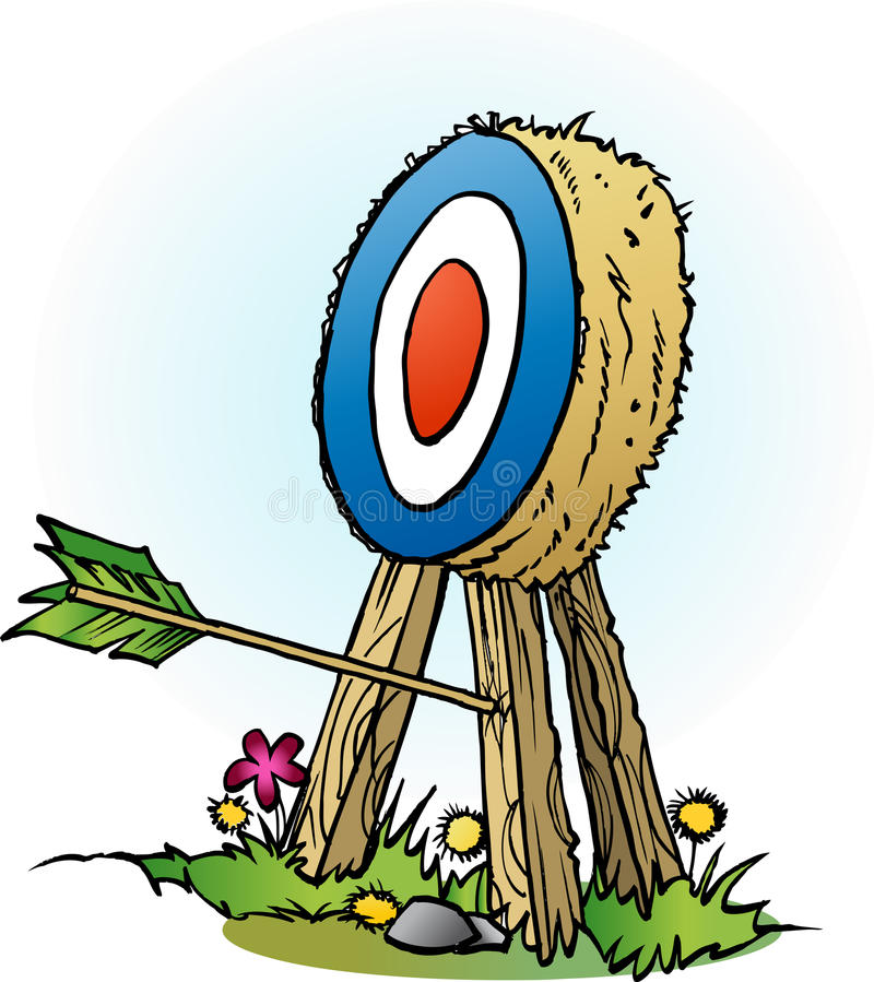 An arrow in targets leg. Vector cartoon illustration of an arrow in targets leg stock illustration