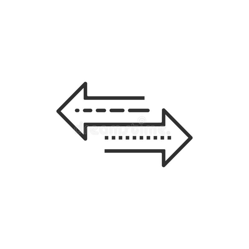 Arrow to left and right line icon. isolated on white background. Vector illustration royalty free illustration