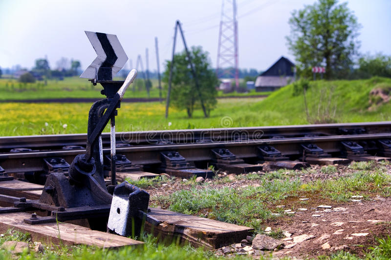 Arrow to move the rail in the field royalty free stock photos