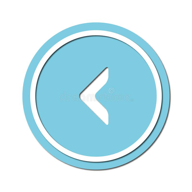 Arrow to turn left Icon symbol or button, paper cut style. Illustration of the left arrow direction with a paper cut design style stock illustration