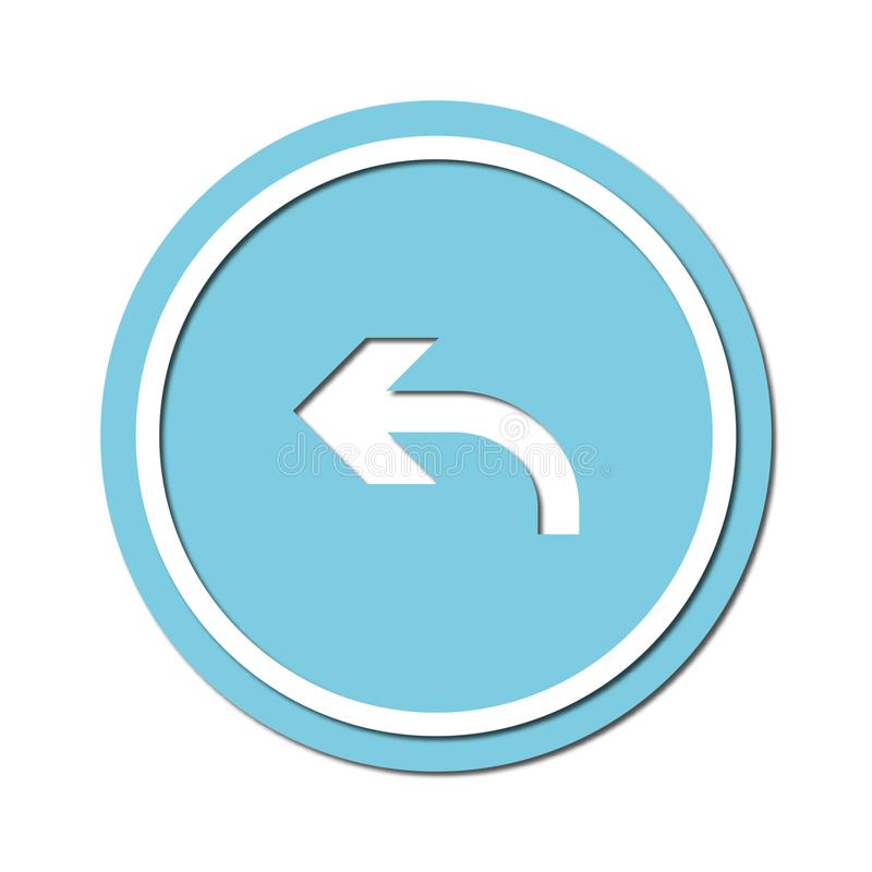 Arrow to turn left Icon symbol or button, paper cut style. Illustration of the left arrow direction with a paper cut design style royalty free illustration