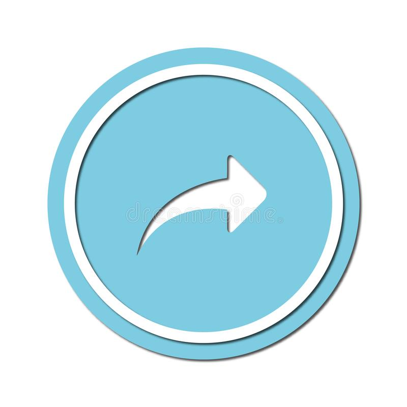 Arrow to turn right Icon symbol or button, paper cut style. Illustration of the right arrow direction with a paper cut design style stock illustration