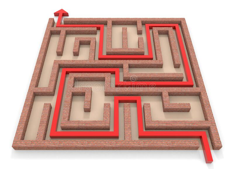 Arrow towards goal. Square maze. Brick wall. 3D rendering. vector illustration